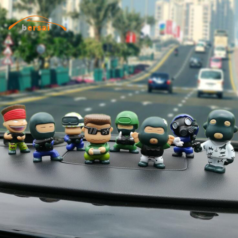 BERSAI For CS go Counter Strike Global Offensive Set 8 Pieces Car ornaments Cartoon characters decorations Automotive interior