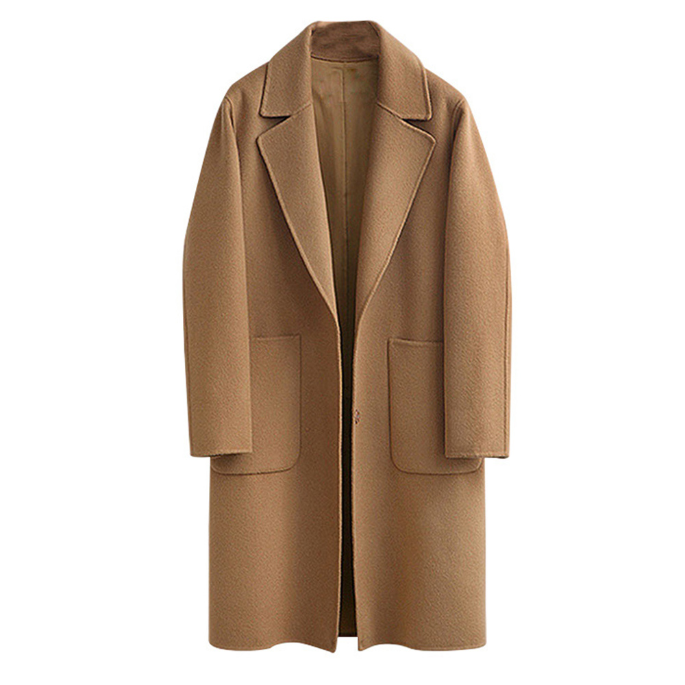 959bc007c US $27.88 37% OFF Wool Blend Long Sleeve Lapel Buttons Coat Women Thick  Warm Vintage Black Camel Jacket Cocoon Style Trench Coats Plus Size 5XL-in  ...