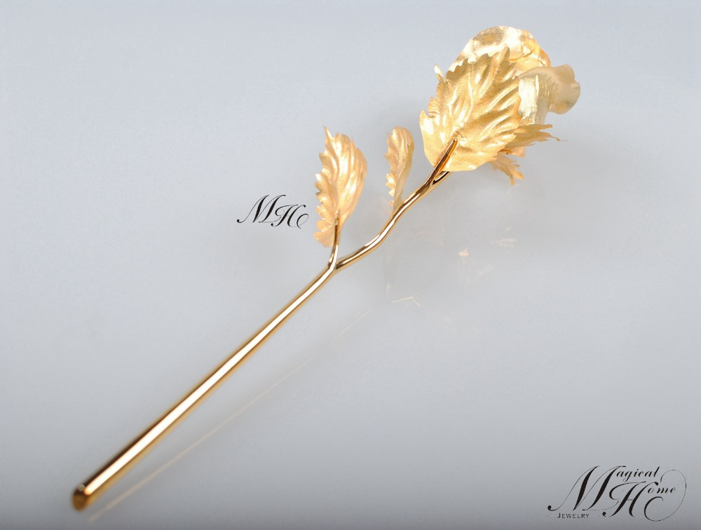 Wedding Gift 24k Gold Plated Dipped 10 Foil Rose Creative Gifts For Friend Wife Free Box Mother S Day In Artificial Dried Flowers