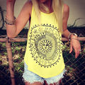 2017 Women's T-shirts Lady t shirt Summer new street Sunflower printed sleeveless top costume T-shirts for women