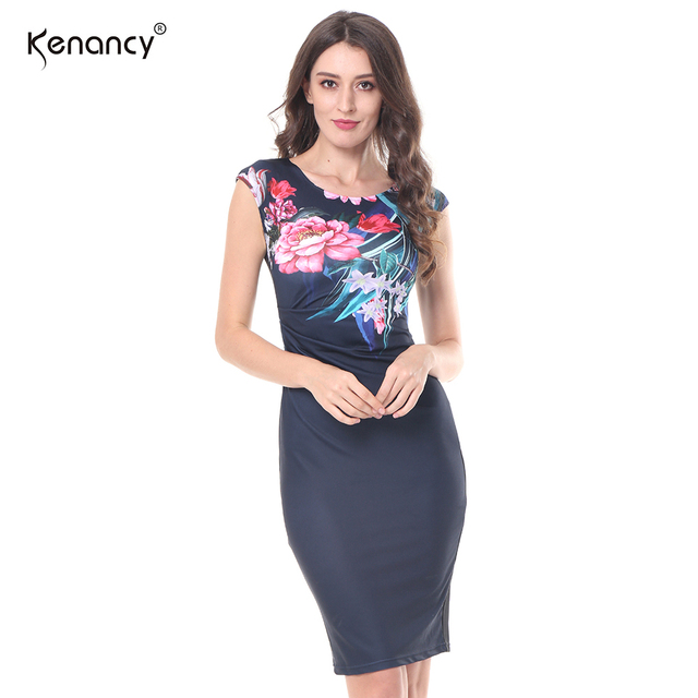 Kenancy 2017 Neue Frauen S-5XL Plus Größe Elegante Vintage Floral Blume Falten Design Vestidos Mantel O-ansatz Sleeveless Bleistift-kleid
