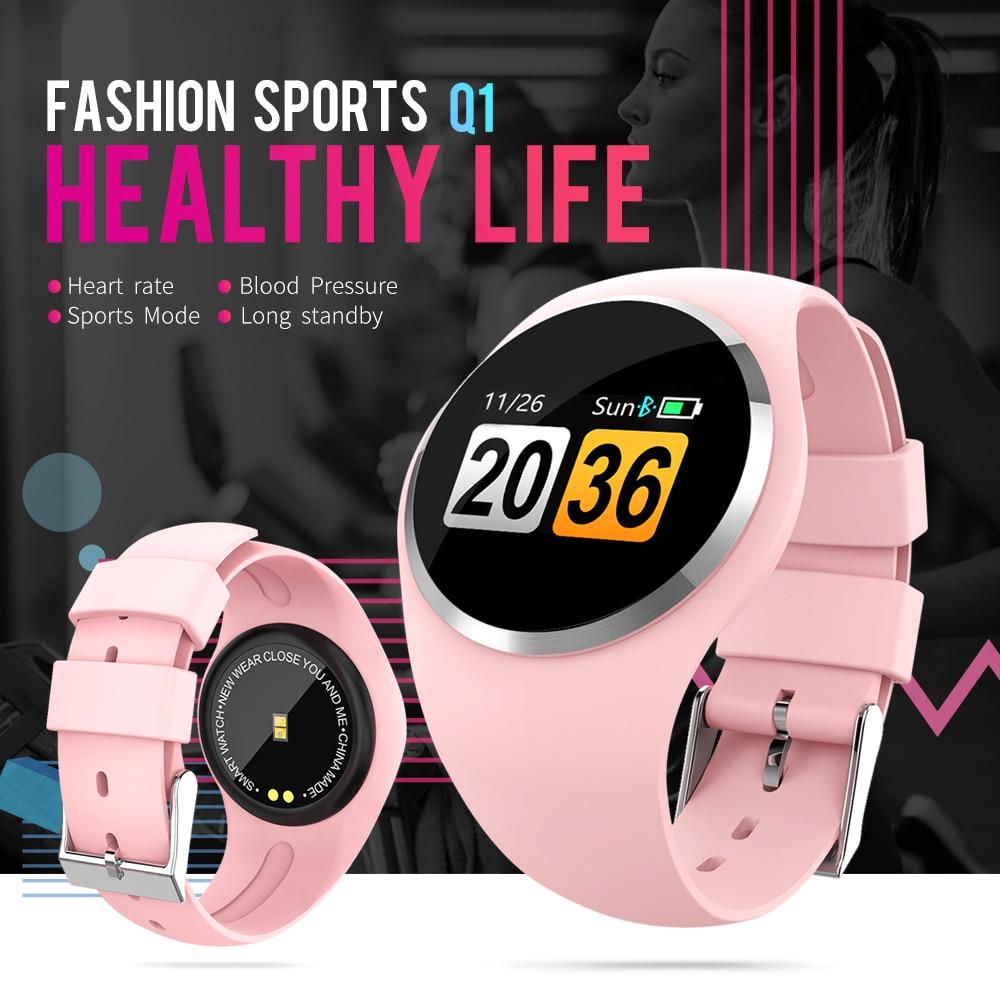 RUNDOING Q1 Color LCD Screen Smart Wristband Blood Pressure Heart Rate Monitor women smart band Fitness Tracker Smart Bracelet