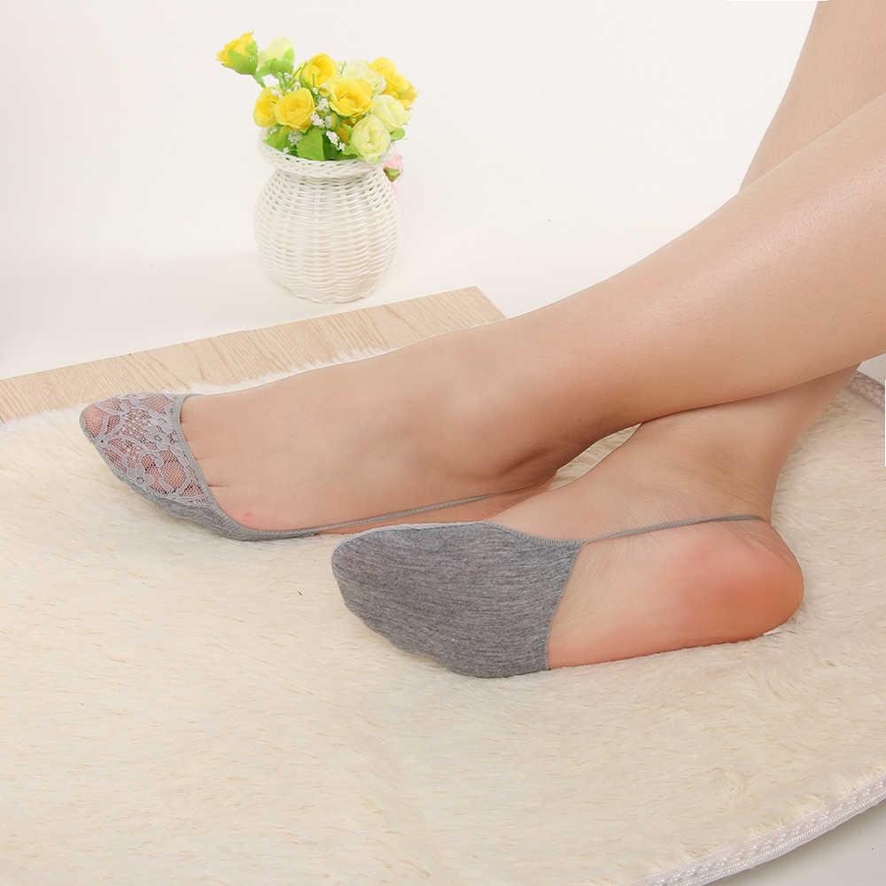 1 çift Kadınlar Yaz Pamuk Dantel Yarım Ayak Kısa Çorap Bandaj Çapraz Anti-skid Görünmez Astar No Show Düşük kesim Sling Çorap