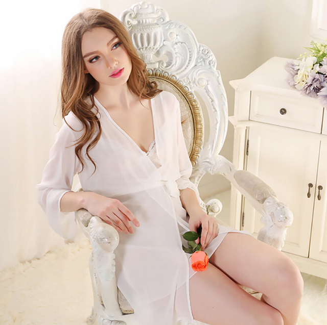 Women Dress Plus Size Silk Warm Sheer Wedding Satin silk 2017 Sexy Women s  Nightgown Lingerie Robe e36f5e58a
