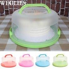 30×15 см круглый торт перевозчика ручной Пластик хранения теста держатель десерт контейнер чехол на день рождения Свадебная вечеринка поставки