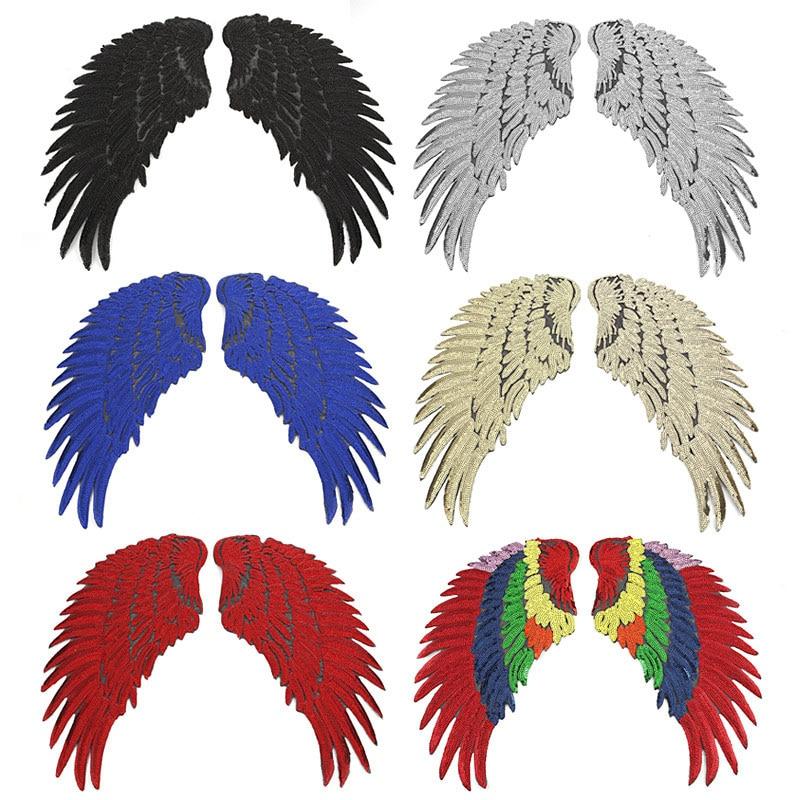 Mode Große Engel Flügel Bügeln Aufkleber Bestickt Patches für Kleidung Reversible Pailletten DIY für Jacke Streifen Nähen E