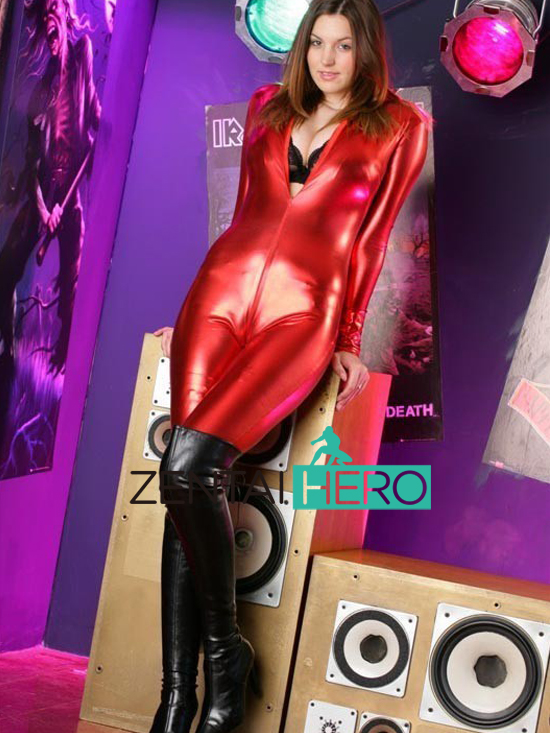 Free Shipping DHL Fashion Shiny Metallic Red Sexy Halloween Party Zentai Costume Gift For font b