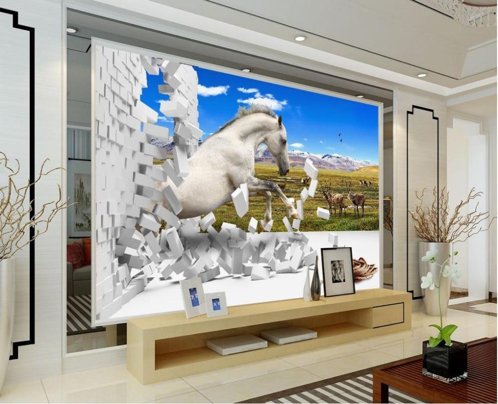 online get cheap horse wall murals aliexpress com alibaba group 3d wallpaper for room prairie horse wall murals decorative brick wall custom 3d wallpaper living style