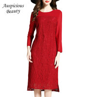 Fashion Elegant Red Lace Dress Women 2018 New Three Quarter Sleeve Bodycon Sexy Short Mini Work Party Dresses Vestidos SXM65