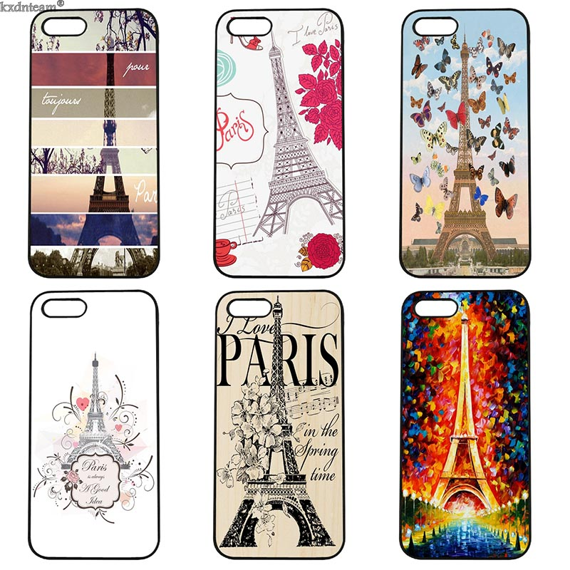 Fashion Romantic Paris Eiffel Tower Love Hard Phone Case Fitted for iphone 8 7 6 6S Plus X 5S 5C 5 SE 4S iPod Touch 4 5 6 Shell
