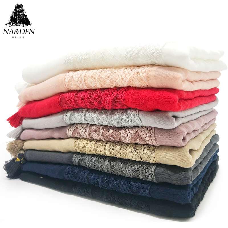 Women sacrf scarves hollow out lace tassels wraps fashion foulard viscose luxurious bandana fast shipping 10pcs