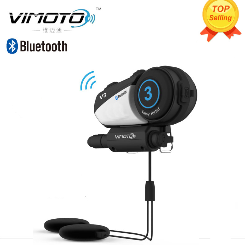 ФОТО VIMOTO V3 600mAh Helmet Bluetooth Headset Motorcycle Multi-functional Stereo Headphones For Two Way Raido Easy Rider Series