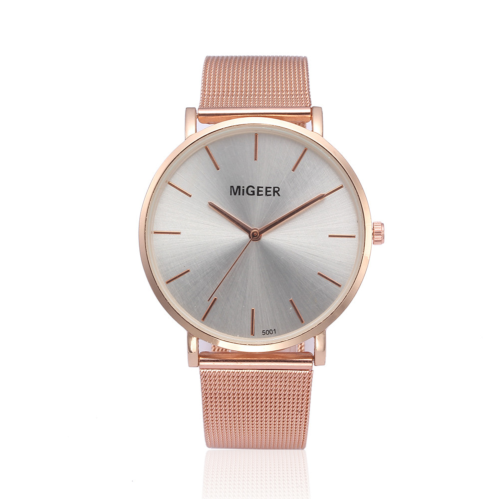 Watches Men Women Rosegold Wristwatches 2018 Female Dial Clock Quartz Analog Watch Stainless Steel Numbers Retro Dropship F913