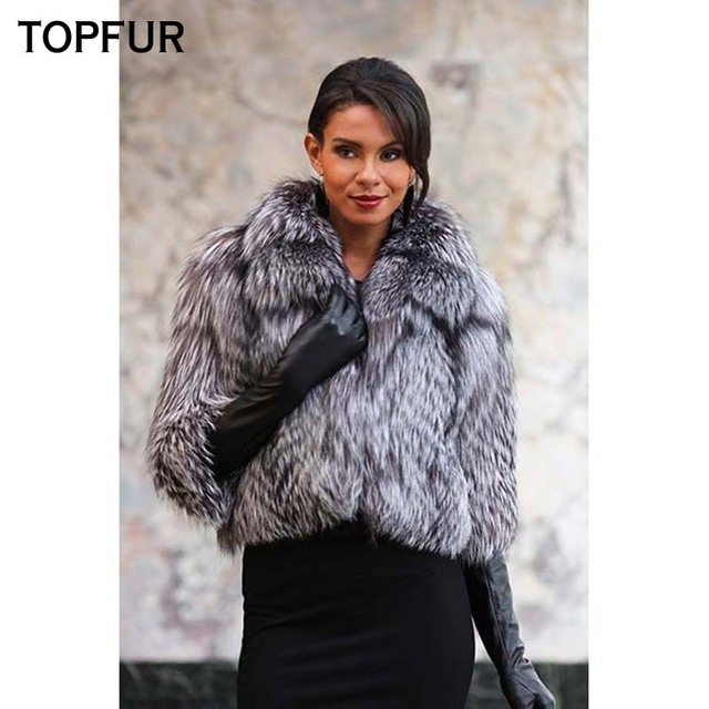 03d595073 TOPFUR New Style Women Winter Real Fur Coat Fashion Winter Natural Silver  Fox Fur 50 cm