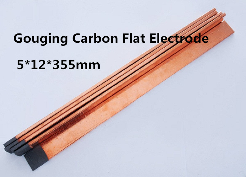 5*12*355 mm Flat Gouging Carbon bar copper coated 50pcs for precise metal removal castings dia 5 355mm dc copper coated pointed gouging rods 100pcs