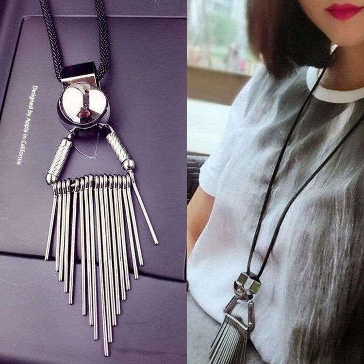New Tassel Leather Silver Necklace for Women Long Friendship Choker Necklace Neckless Statement Bib Necklaces Girl Bijoux Femme