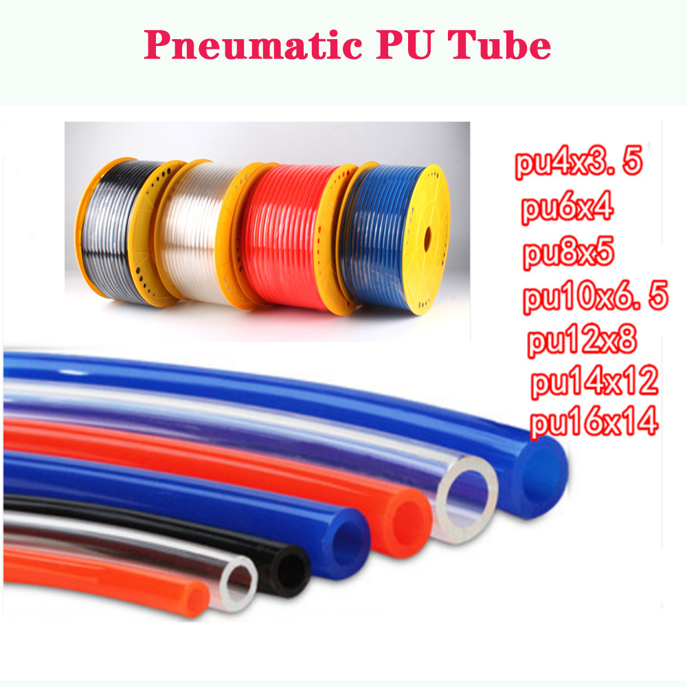 1 Meter 4*2.5mm 6*4mm 8*5mm 10*6.5mm 12*8mm 14*10mm 16*12mm For Pneumatic Parts Pneumatic Component Pu Tube Air Hose Pipe