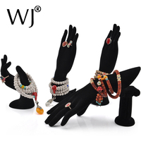 Wholesale 4pcs Portable Black Velvet Jewelry Ring Bracelet Necklace Hanging Hand Display Holder Stand Model Mixed