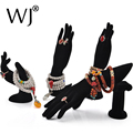 Wholesale 4pcs Mannequin Hand Form Jewelry Display Bracelet Ring Necklace Stand Holder Rack Set Showcase Countertop Black Velvet
