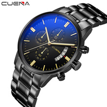 CUENA Men Quartz Watch Fashion Mens Watches Top Brand Luxury Man Clock Stainless Steel Waterproof Wristwatches Relogio Masculino