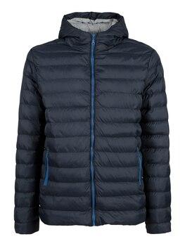 Padded jacket with cap-dark blue