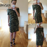 IMYSEN Summer Autumn Casual Camouflage Printed Dress Women New Arrive Slash Neck Short Sleeve Mini Dress
