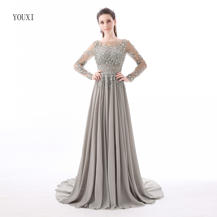 Silver Beading Crystal Formal Long Sleeve   Evening     Dresses   2017 Sexy Backless Long Formal Prom Gowns