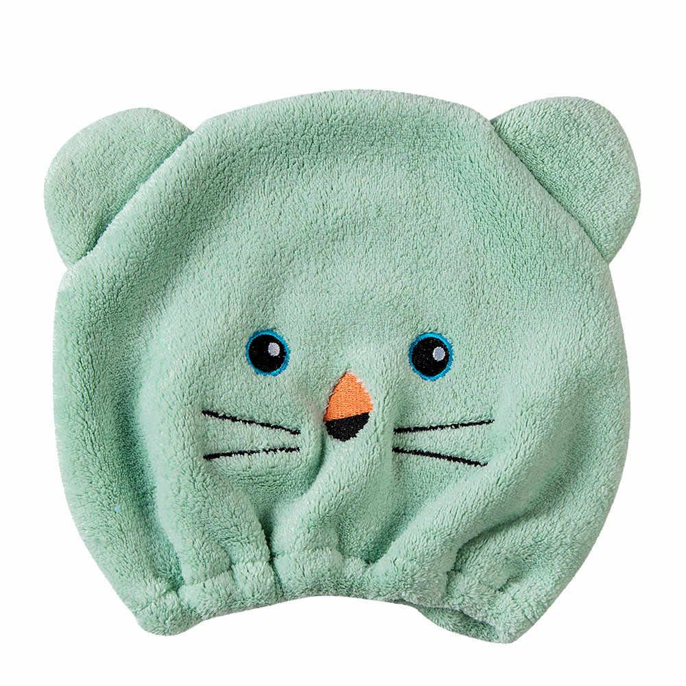 Coral velvet bear tampão de cabelo seco turbante de cabelo de microfibra rapidamente seco chapéu de cabelo envolto toalha touca de banho