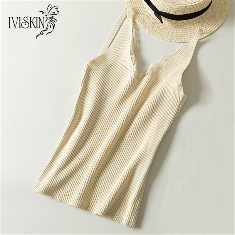 IVISKIN Lace Tank Tops Female Sexy Vest Women Tank Top