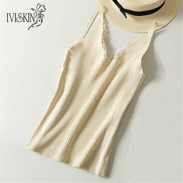 8a95c04eb14 Online Shop Lace Knitted Tank Tops Female Sexy V-neck Vest Plus size Solid Club  Tops Women Black Beige T shirt Cotton Polyester Tank Top