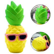 New Anti-stress Kawaii Squishy Toys Children Slow Rising Antistrss Toy Pineapple Squishies Stress Relief Squeeze Toy Lanyard(China)