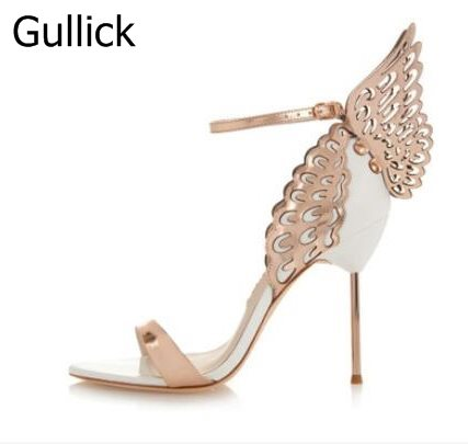 The New Spring Summer Sandal Fashion Sexy Cut-Outs Butterfly Rivets Leather Thin High-Heeled Ankle Buckle Strap Women Shoes 2016 spring and summer free shipping red new fashion design shoes african women print rt 3