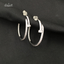 Ciliy Full Zircon Round Nail Earrings New Pendant Casual Women Fashion Female Jewelry Pendientes  F9915od