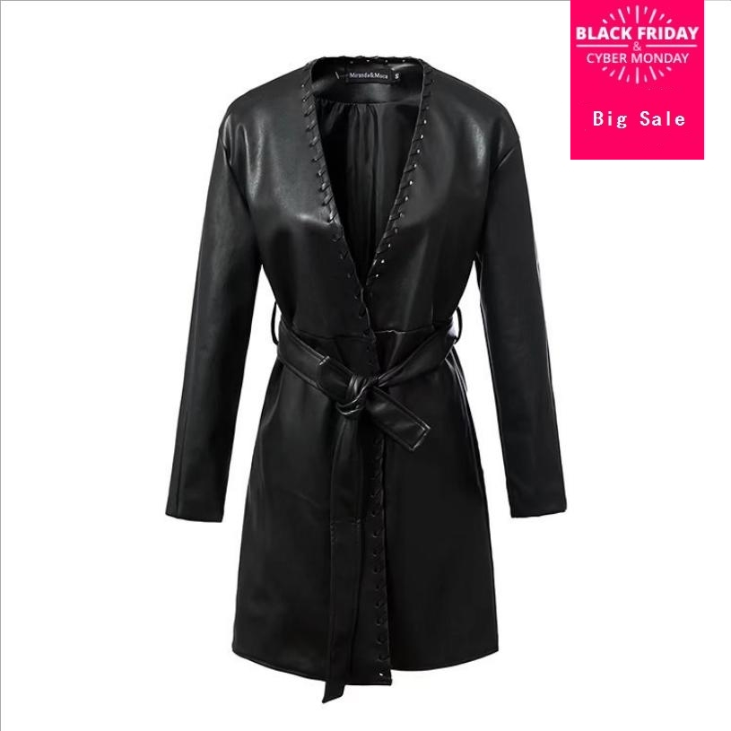 Autumn lace up black PU   leather   trench coat women fashion new faux   leather   Windbreaker female slim deep v-neck outerwear L1456