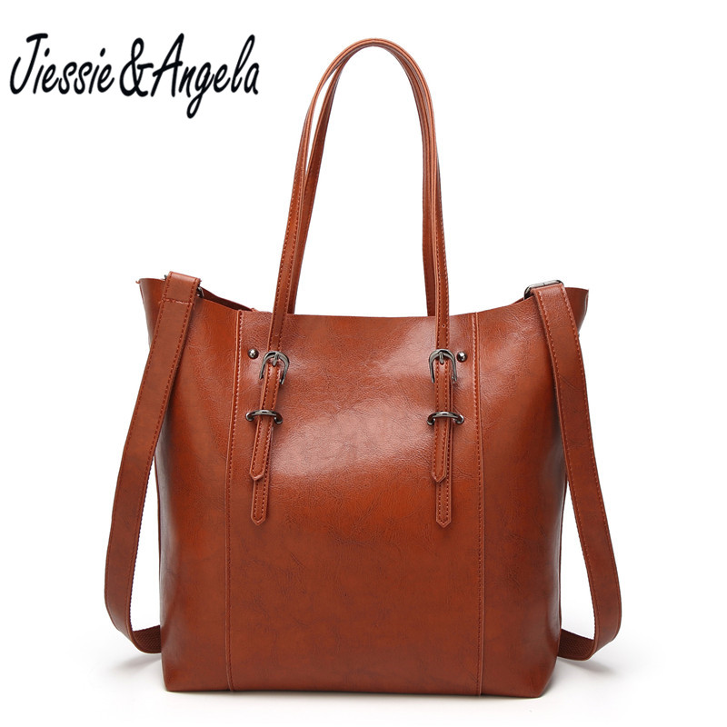 где купить Jiessie & Angela New Luxury Brand Handbags Women Bags Designer Leather 2017 Big Casual Women Tote Bag Lady's Shoudler Bags по лучшей цене