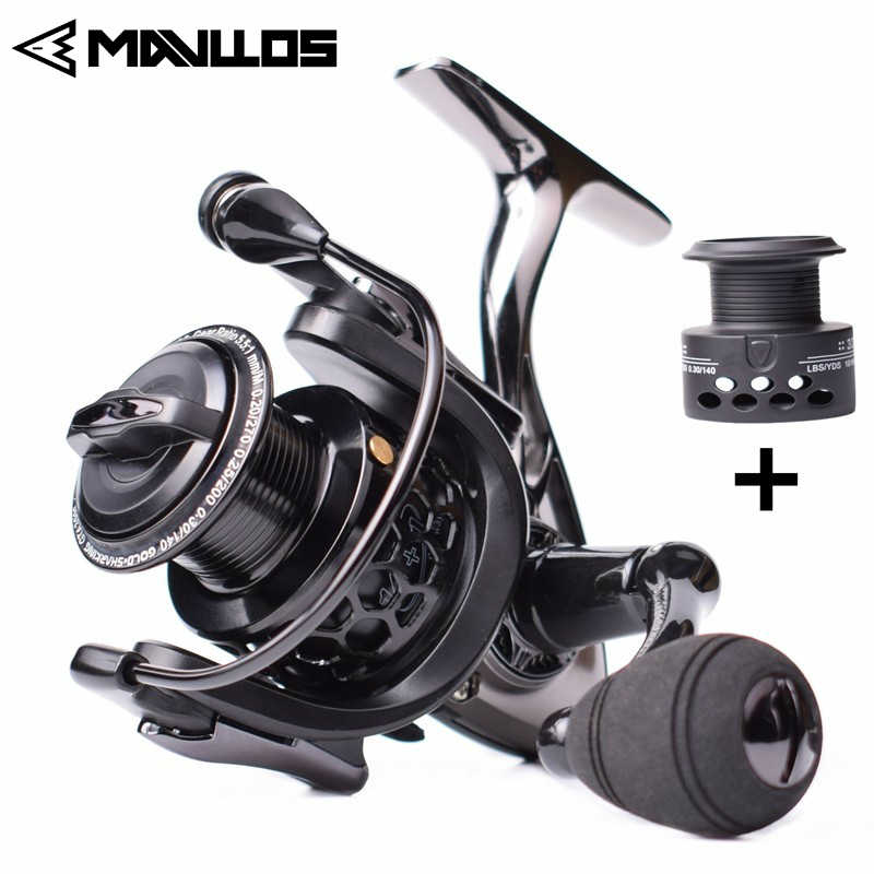 Mavllos Saltwater Carp Spinning Fishing Reel 15BB Ratio 5.5:1 1000-7000 Model 2 Spools Metal Body Sea Boat Jigging Fishing Reel