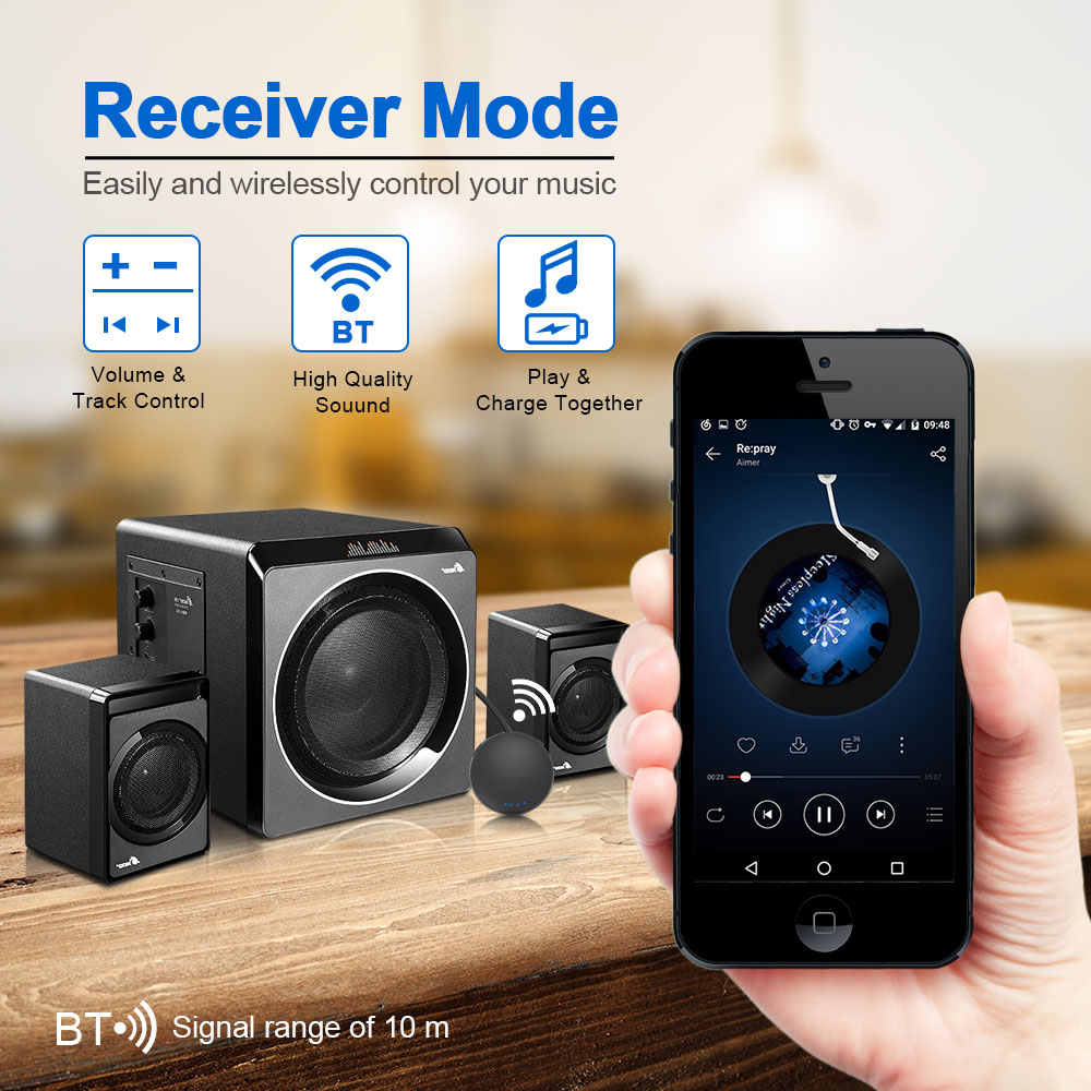 HBQ-T11 Wireless BT 2-in-1 Audio Receiver/Transmitter Free Conversion Mode ...