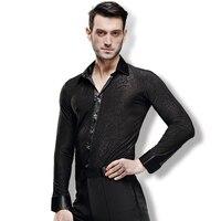 New arrival Man Ballroom Dance Latin Dance Top Long sleeved shirt male dance practice costume adults Ballroom Latin Dance