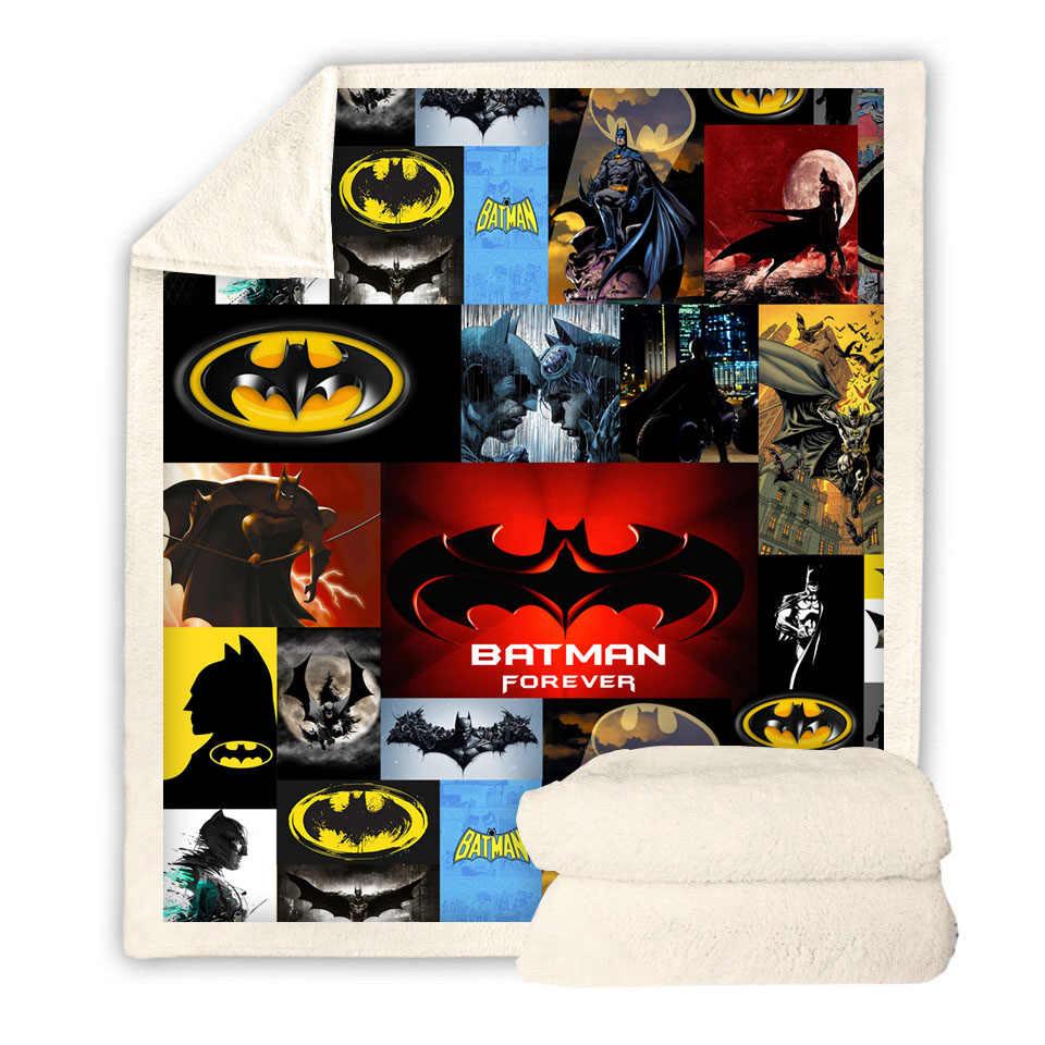 باتمان ثلاثية الأبعاد المطبوعة شيربا بطانية الأريكة غطاء لحاف السفر الشباب الطفل الفراش المخرج المخملية أفخم رمي الصوف بطانية المفرش
