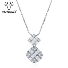 Viennois Silver Crystal White Rhinestone Zircon Pendent For Necklace Women Party Jewelry