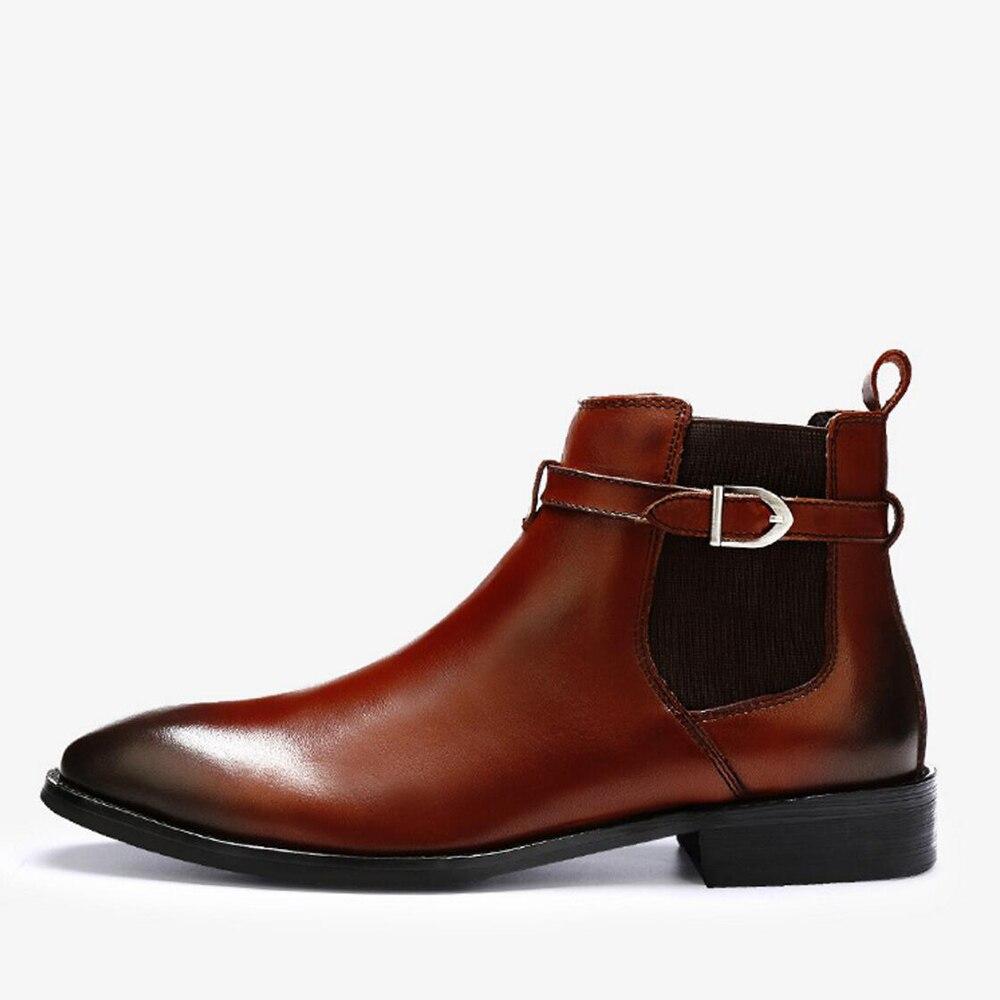 Sipriks Patina Tornozelo Sapatos Formais Toe Quadrado Com 45 Sobre marrom Genuínos Fivela Botas Simples Couro Homens De Chelsea Deslizar Moda Cinta Preto wBUwqg