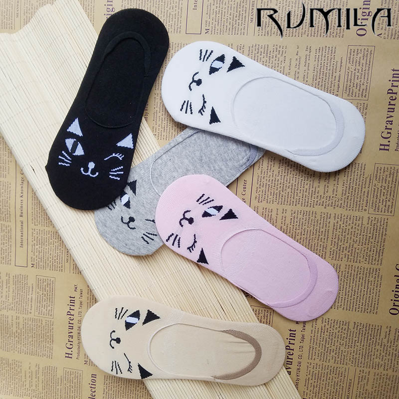 CAT Warm comfortable cotton bamboo fiber girl women's   socks   ankle low female invisible color girl boy hosier 1pair=2pcs WS114