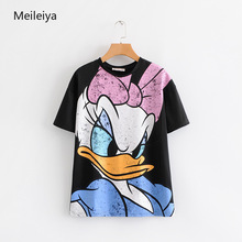 2019 Summer Womens New Donald Duck Daisy Printed Short Sleeved T-shirt Woman O-Neck Tops Graphic Tees