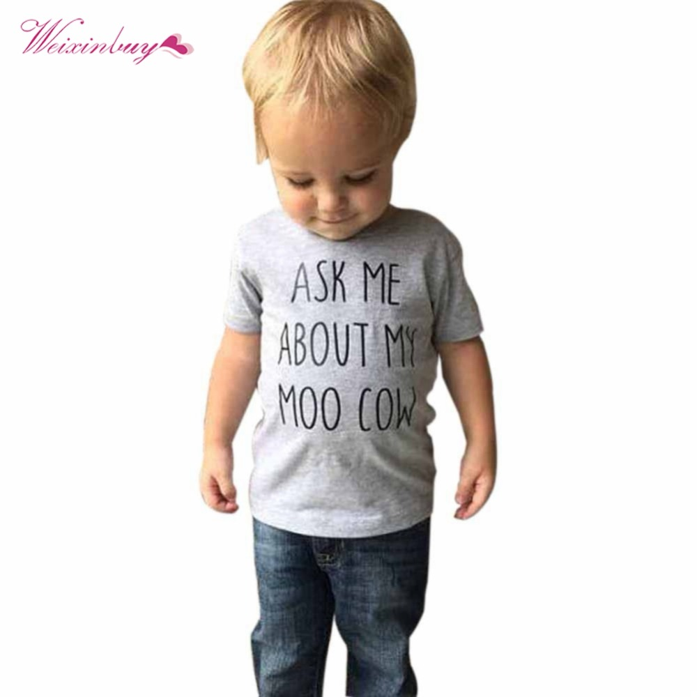 WEIXINBUY Baby Boys T-shirt Novelty Ask Me About My Moo Cow Letter Kid Boy Short Sleeves Toddler Tops T-Shirt Tees Clothes