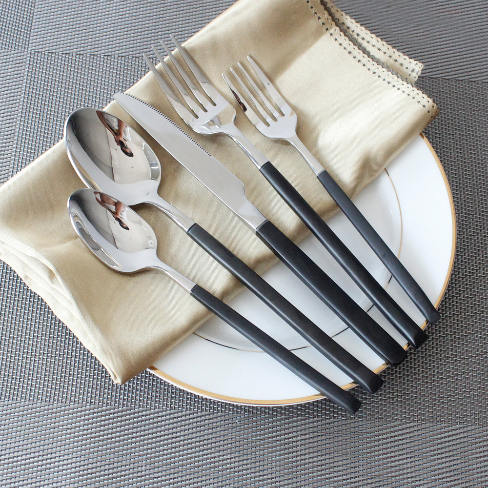5pcs set 304 stainless steel tableware excellent quality cutlery sets black handle dinnerware. Black Bedroom Furniture Sets. Home Design Ideas