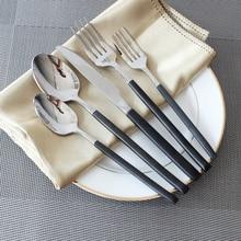 5 Teile/satz 304 Edelstahl Geschirr Ausgezeichnete Qualität Besteck Sets Schwarz Griff Besteck Geschirr Dessert Gabel Löffel Messer