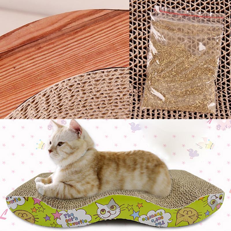 Gato gatito Scratch Board corrugado Scratcher Pad Seize Catch Board Mat con Catnip Pet Cat Claws Care juguete de entrenamiento interactivo