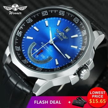 WINNER Military Sport Watch Men Auto Mechanical Working Sub-dials Calendar Blue Dial Leather Strap Mens Watches Top Brand Luxury