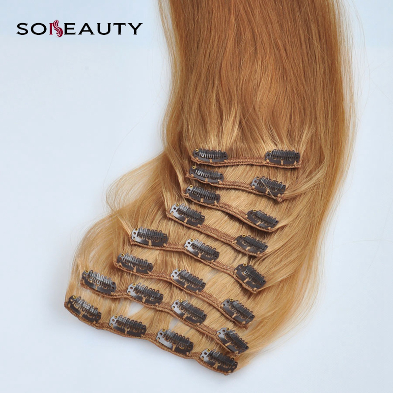 Pince à cheveux brésilienne droite non-remy fabriquée à la Machine dans les Extensions de cheveux humains 100% pinces de couleur Blonde pour cheveux humains