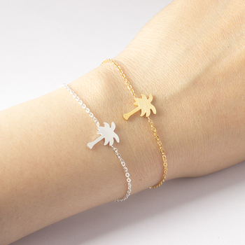 Palm Tree Bracelet For Women Men Hawaii Beach Jewelry Stainless Steel